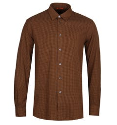 Barena Small Check Long Sleeve Ginger Shirt