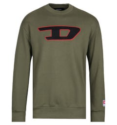 Diesel Large Chest Logo Khaki Green Sweatshirt