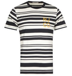 Nudie Jeans Co Row Barcode Black & White Stripe T-Shirt