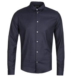 Emporio Armani Slim Fit Navy All Over Eagle Print Shirt