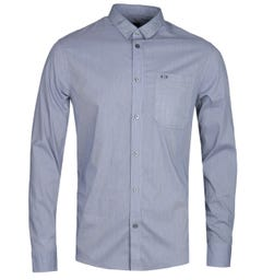 Armani Exchange Grey Pocket Fine Check Blue Shirt