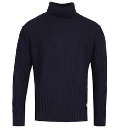 Armor Lux Navy Roll Neck Knit Sweater