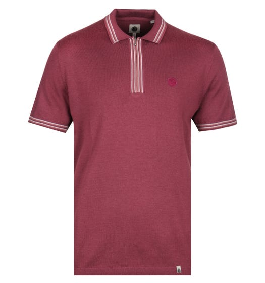 Pretty Green Sutton Zip Neck Burgundy Knitted Polo Shirt