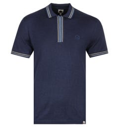 Pretty Green Sutton Zip Neck Navy Knitted Polo Shirt