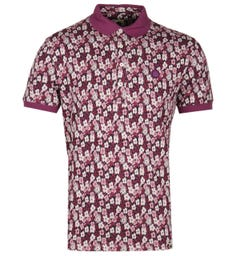 Pretty Green All Over Burgundy Barley Polo Shirt