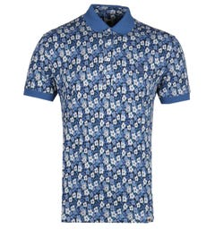 Pretty Green All Over Navy Blue Barley Polo Shirt