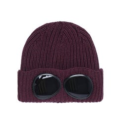 CP Company Large Goggle Burgundy Knit Beanie