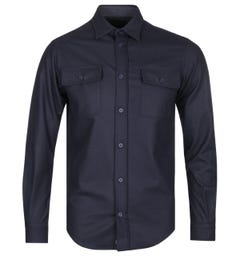 Paul & Shark Brushed Cotton Navy Overshirt