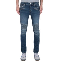 True Religion Rocco Relaxed Skinny Fit Blue Wash Denim Biker Jeans