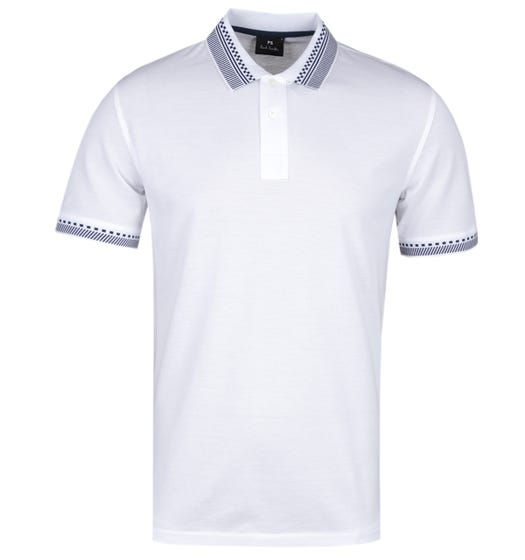 PS Paul Smith Regular Fit Tipped White Polo Shirt