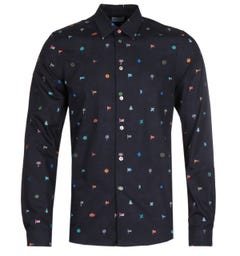 PS Paul Smith Navy Tailored Fit Apparel All Over Flag Shirt