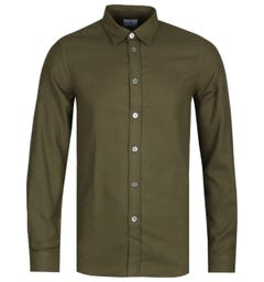 PS Paul Smith Olive Tailored Fit Apparel Flannel Overshirt