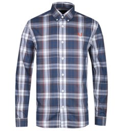 Fred Perry Twill Check Midnight Blue Long Sleeve Shirt