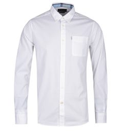 Barbour Heatherbank Tailored Fit Long Sleeve White Shirt