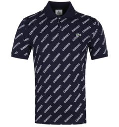 Lacoste Live All Over Logo Navy Polo Shirt