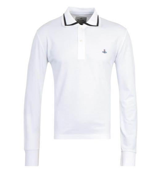 Vivienne Westwood Tipped Long Sleeve White Polo Shirt