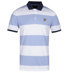 Lyle & Scott Wide Stripe White & Sky Blue Polo Shirt