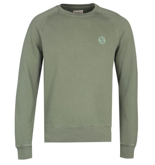 Nudie Jeans Co Melvin Circle Logo Green Sweatshirt