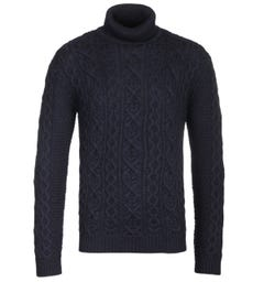 NN07 6412 Bert Roll Neck Navy Knit Sweater