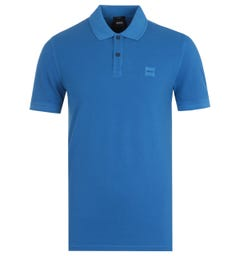 BOSS Prime Slim Fit Blue Pique Polo Shirt