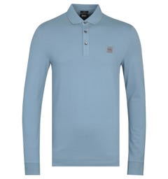 BOSS Passerby Slim Fit Long Sleeve Grey Polo Shirt