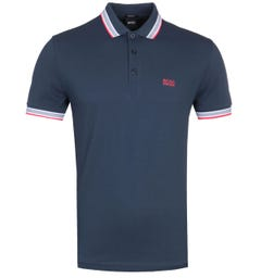 Boss Paddy Tipped Navy Polo Shirt