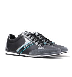BOSS Saturn Lowp Open Stone Grey Mesh Trainers