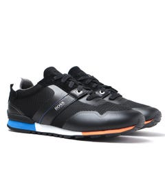 BOSS Parkour Runn Contrast Sole Mesh Black Suede & Mesh Trainers