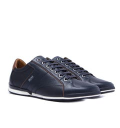 BOSS Saturn Low Grain Leather Navy & Brown Trainers