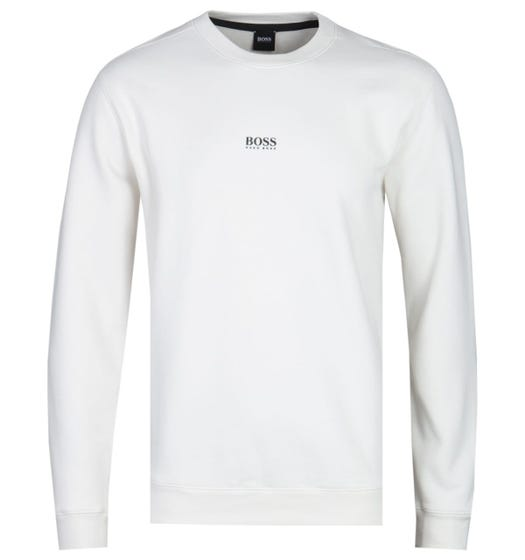 BOSS Weevo Centre Logo White Sweatshirt