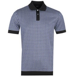 BOSS Parlay Short Sleeve Jacquard Pattern Blue Polo Shirt