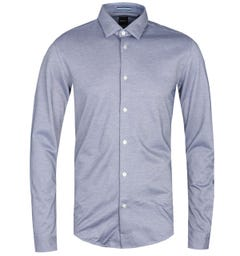 BOSS Ronni Slim Fit Fine Stripe Blue Long Sleeve Shirt