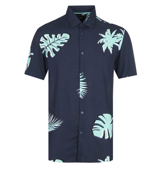 BOSS Ronn Large Palm Print Short Sleeve Blue Shirt