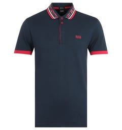 BOSS Paddy Patterned Collar Twin Tipped Navy Polo Shirt