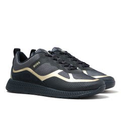 BOSS Titanium Contrast Panel Navy Trainers