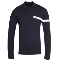 Armani Exchange Long Sleeve Navy Knit Polo Shirt