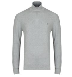 Polo Ralph Lauren Grey Zip Neck Pima Cotton Sweater