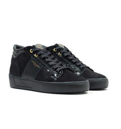 Android Homme Propulsion Mid Geo Black Patent Suede Trainers