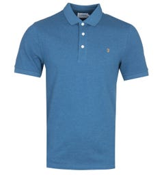 Farah Blanes Basic Berlin Blue Marl Pique Polo Shirt