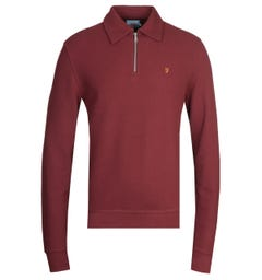 Farah Burgundy Quarter Zip Sweatshirt