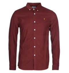 Farah Fontella Burgundy Slim Fit Shirt