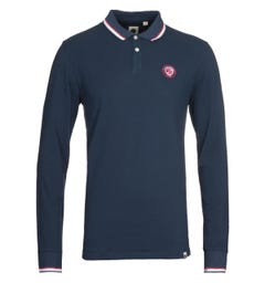 Pretty Green Joey Tipped Navy Long Sleeve Polo Shirt