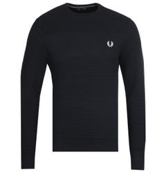 Fred Perry Textured Stripe Navy Sweater