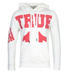 True Religion Red Logo White Hooded Sweatshirt