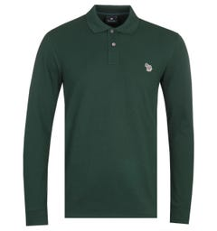 PS Paul Smith Regular Fit Long Sleeved Forest Green Polo Shirt