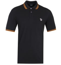 PS Paul Smith Regular Fit Short Sleeve Tipped Black Polo Shirt