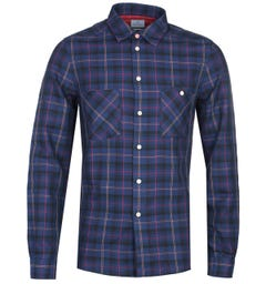 PS Paul Smith Tailored fit Navy Checked Shirt