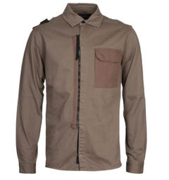 MA.Strum Zip Front Dark Khaki Overshirt