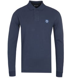 MA.Strum Long Sleeve Cotton Pique Navy Polo Shirt