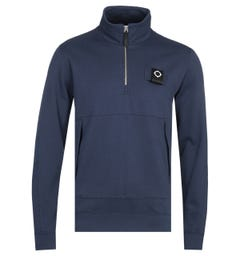 MA.Strum Training Navy Zip Neck Sweatshirt
